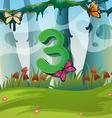 Number three with 3 butterflies in garden vector image