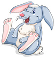 Blue easter bunny laughing vector image