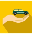 Car in hand icon flat style vector image