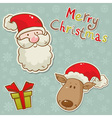 christmas santadeer box card blue vector image