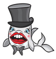 Cute cartoon fish with hat vector image