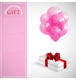 gift box with red bow and bunch of pink vector image