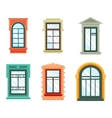 Old window frames view isolated house wall vector image