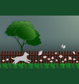 paper art concept of nature dog catching butterfly vector image