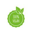 round vegan eco bio green logo with leaf vector image