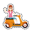 yellow scooter icon image vector image
