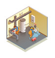 plumbers boiler leak fixing isometric composition vector image