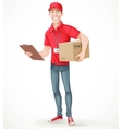 Young man courier delivery services of holding a vector image