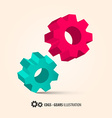 Abstract Retro 3D Cogs - Gears vector image
