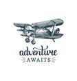 adventure awaits motivational quotevintage retro vector image