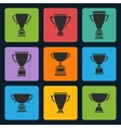 black trophy cup icons set vector image