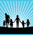 family big with children enjou in nature vector image