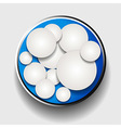 White circles in metallic border over blue vector image vector image