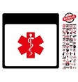 Medical Life Star Calendar Page Flat Icon vector image