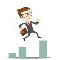 Businessman Jump Through The Gap In Growth Chart vector image