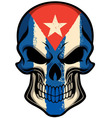 Cuba flag painted on a skull vector image