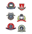 College university school and academy signs vector image