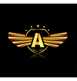 Letter A winged crests logo Alphabet logotype vector image
