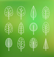 Set of trees on blurred background vector image