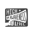 high awareness level label vector image