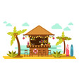 beach bar cocktails in tropical resort for summer vector image