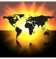 world map on the sunset background vector image