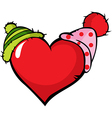 funny heart with two cap - vector image