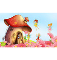 A big mushroom house with fairies vector image