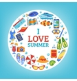 Summer vacation concept circle composition poster vector image