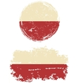 Polish round and square grunge flags vector image