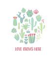 circle cactus vector image