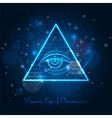 Masonic eye on blue shining background vector image