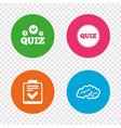 quiz icons checklist and human brain symbols vector image