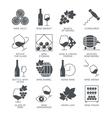 Wine icons set isolated on white background vector image