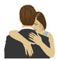 young woman hugs the man with sad expression vector image