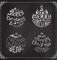 Chalk A Very Merry Christmas And Happy New Year vector image