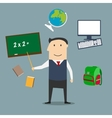 School teacher and education icons vector image