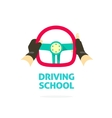 Driving school logo template hands holding vector image vector image