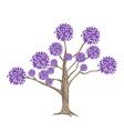 Abstract Purple Flowers on Tree vector image