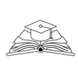dotted shape cap graduation over open book vector image