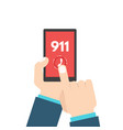 emergency call 911 call phone in hand vector image