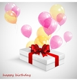 gift box with red bow and flying transparent vector image