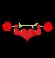 heart strong love powerful sport barbell rose vector image