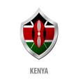 kenya flag on metal shiny shield vector image