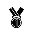 medal first place icon black vector image