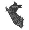 peru map labelled black vector image
