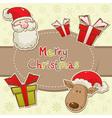 christmas elements santadeer card vector image vector image