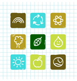 doodle nature icons vector image