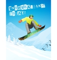 Snowboarding Snowboarder in jump and flight vector image