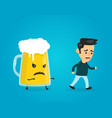 angry evil glass of beer chasing a man vector image